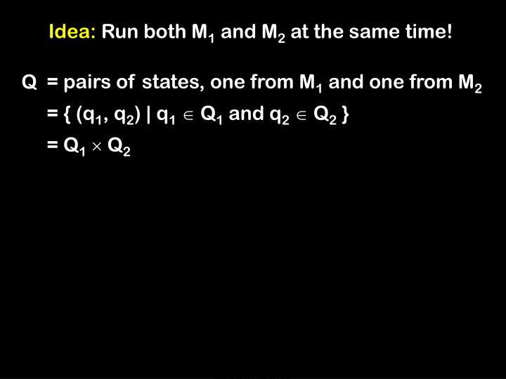 = pairs of states, one from M