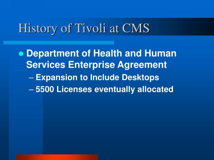 History of Tivoli at CMS