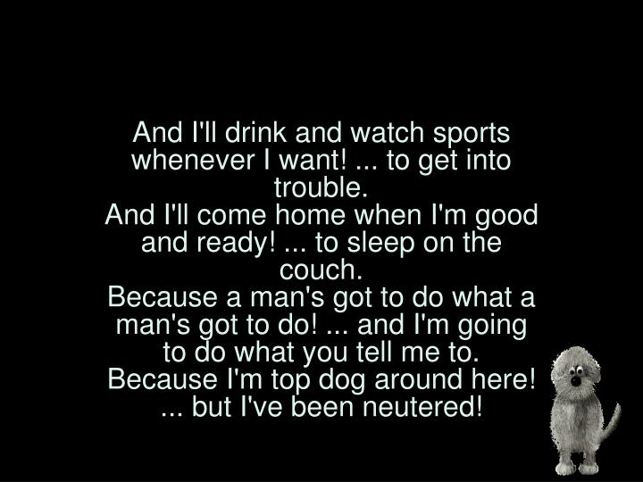 And I'll drink and watch sports whenever I want! ... to get into trouble.