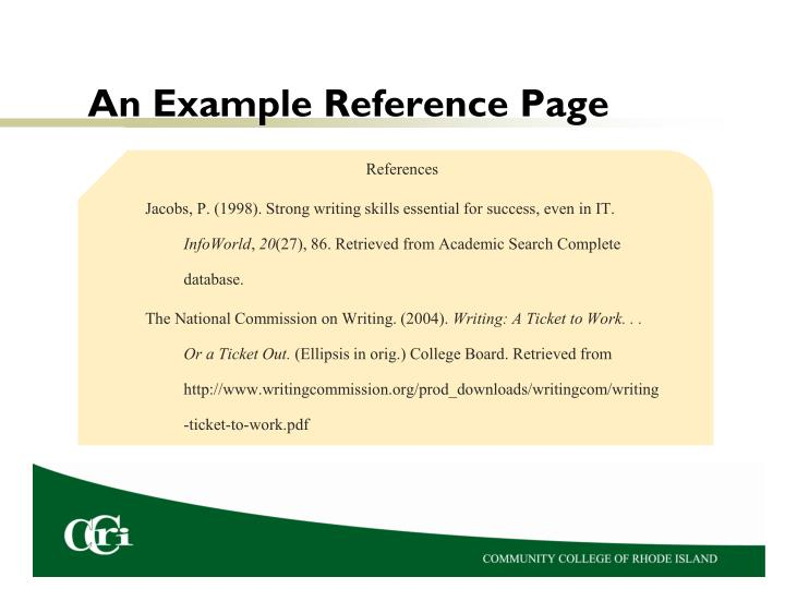 An Example Reference Page