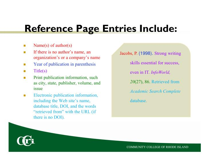 Reference Page Entries Include: