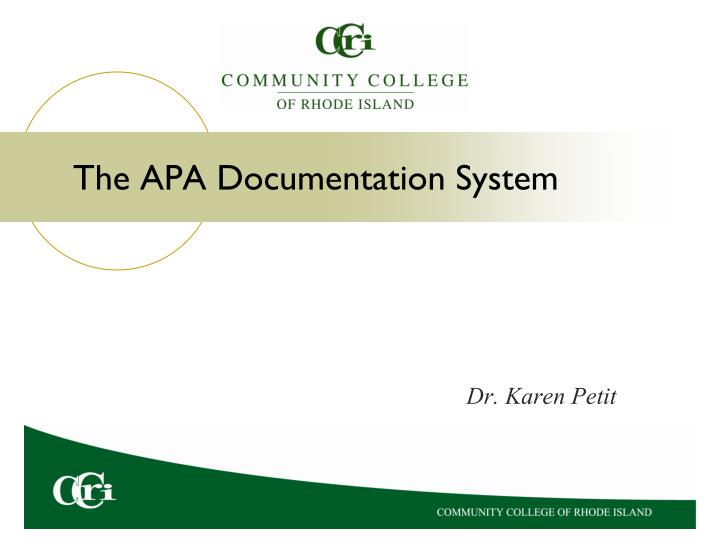 the apa documentation system