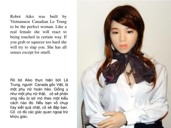 Robot Aiko was built by Vietnamese Canadian Le Trung to be the perfect woman. Like a real female she will react to being touched in certain way. If you grab or squeeze too hard she will try to slap you. She has all senses except for smell.