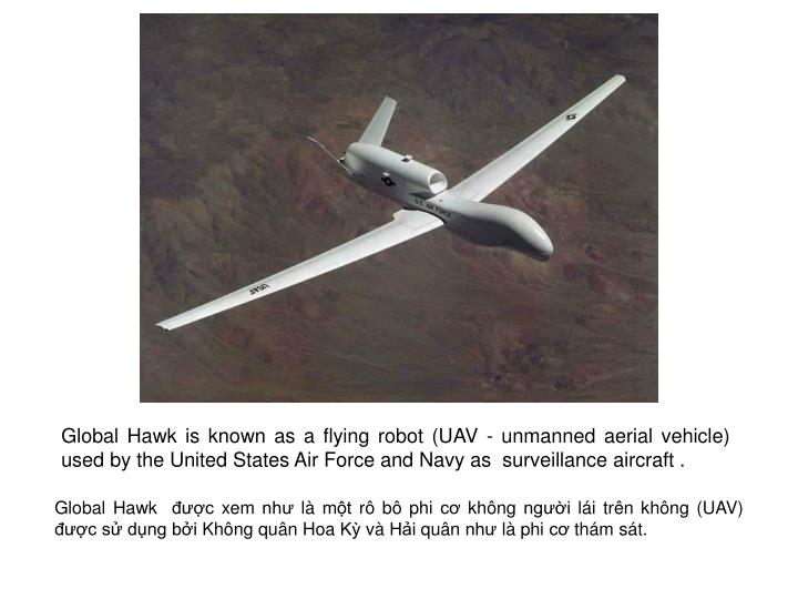 Global Hawk is known as a flying robot (UAV - unmanned aerial vehicle) used by the United States Air Force and Navy as  surveillance aircraft .
