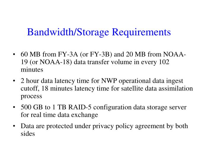 Bandwidth/Storage Requirements