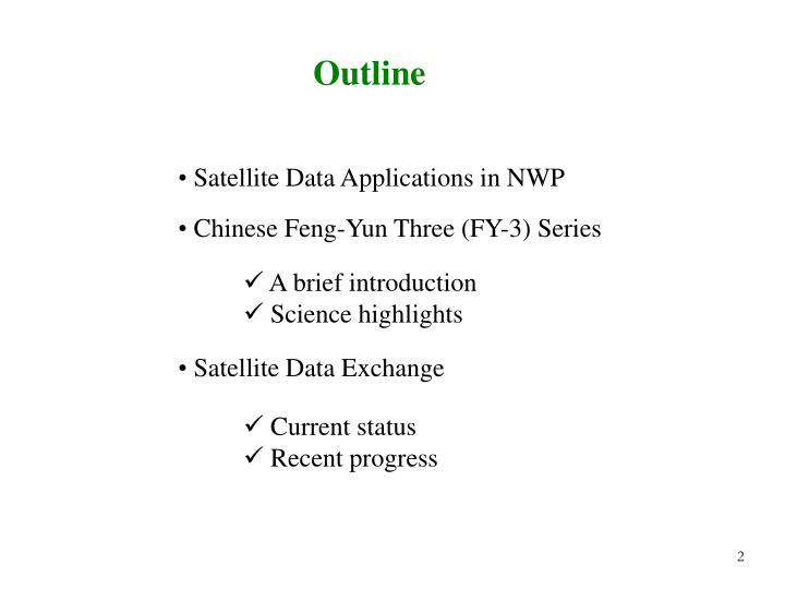 Satellite Data Applications in NWP