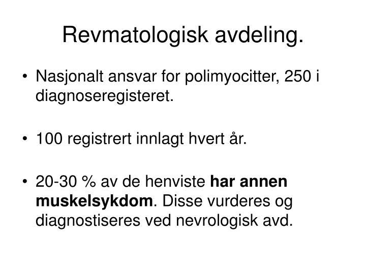 Revmatologisk avdeling.