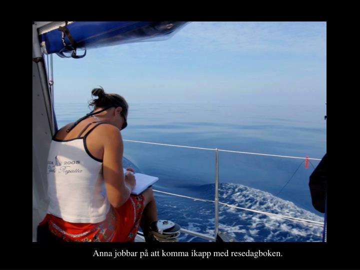 Anna jobbar på att komma ikapp med resedagboken.