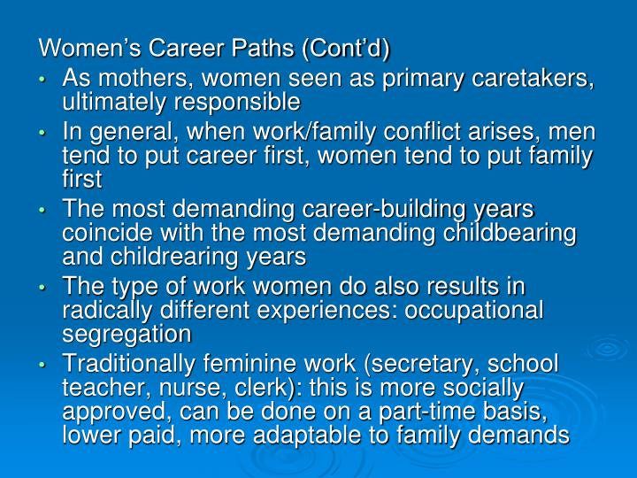 Women's Career Paths (Cont'd)