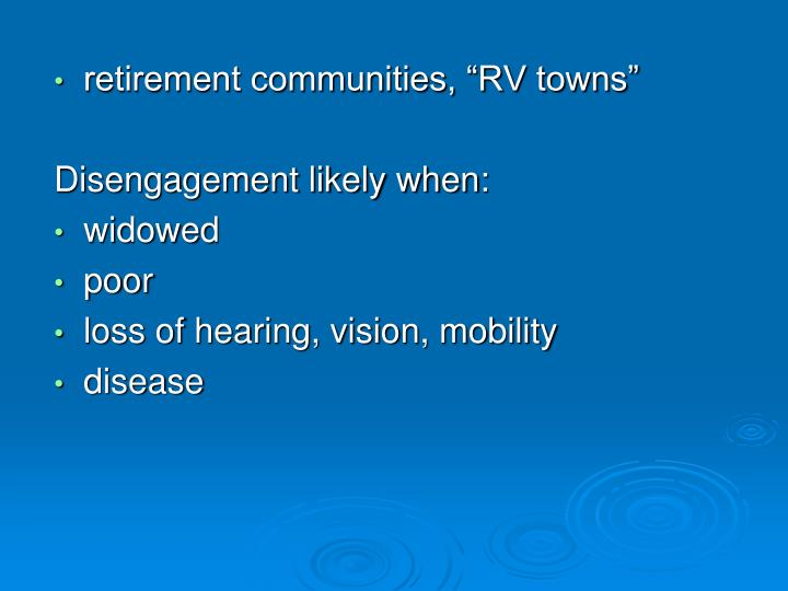 "retirement communities, ""RV towns"""