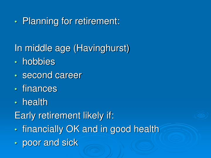 Planning for retirement: