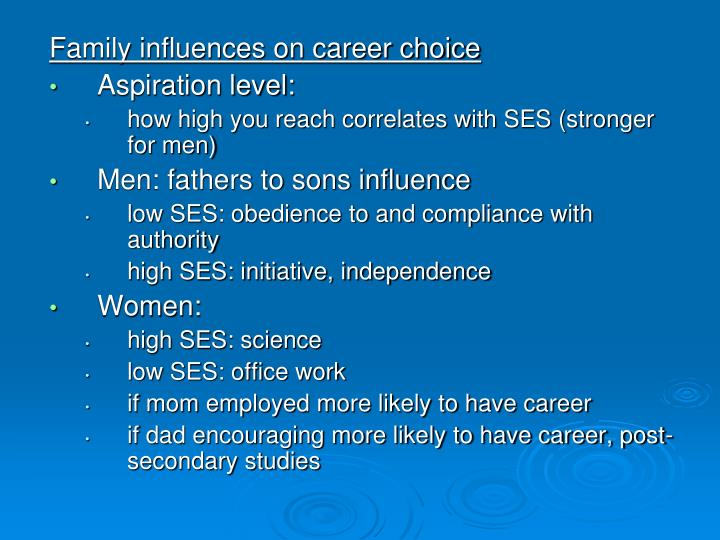 Family influences on career choice
