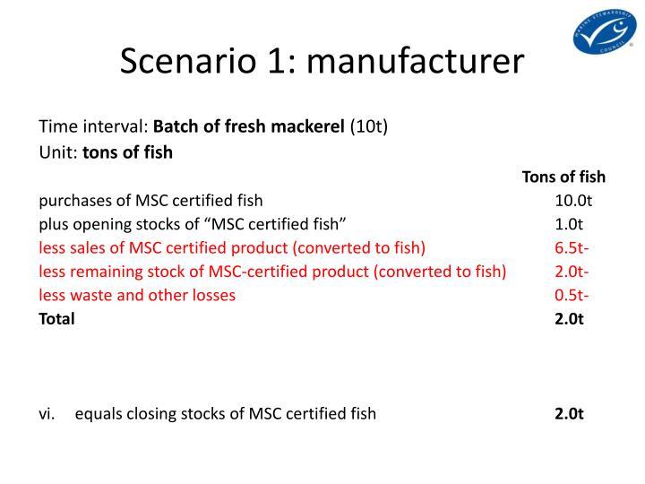 Scenario 1: manufacturer