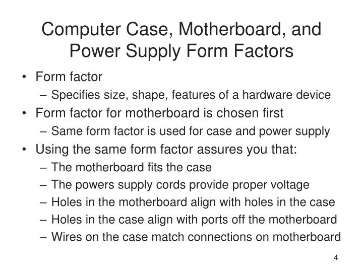 Computer Case, Motherboard, and Power Supply Form Factors