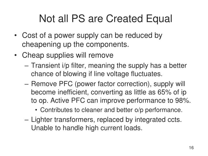 Not all PS are Created Equal