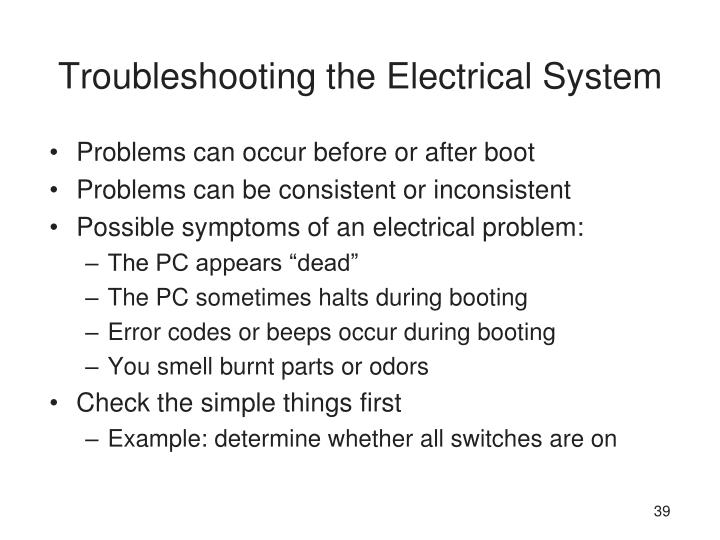 Troubleshooting the Electrical System