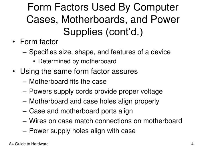 Form Factors Used By Computer Cases, Motherboards, and Power Supplies (cont'd.)