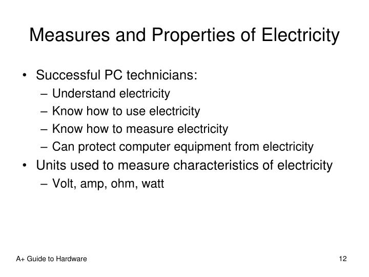 Measures and Properties of Electricity