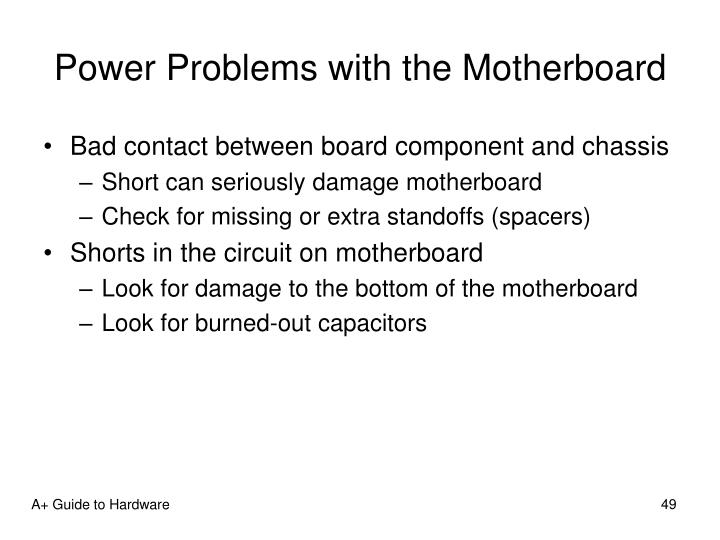 Power Problems with the Motherboard