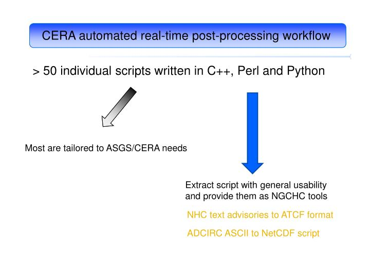 CERA automated real-time post-processing workflow