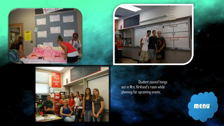 Student council hangs out in Mrs. Kirkland's room while planning for upcoming events.