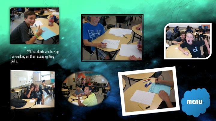 AVID students are having fun working on their essay writing skills.
