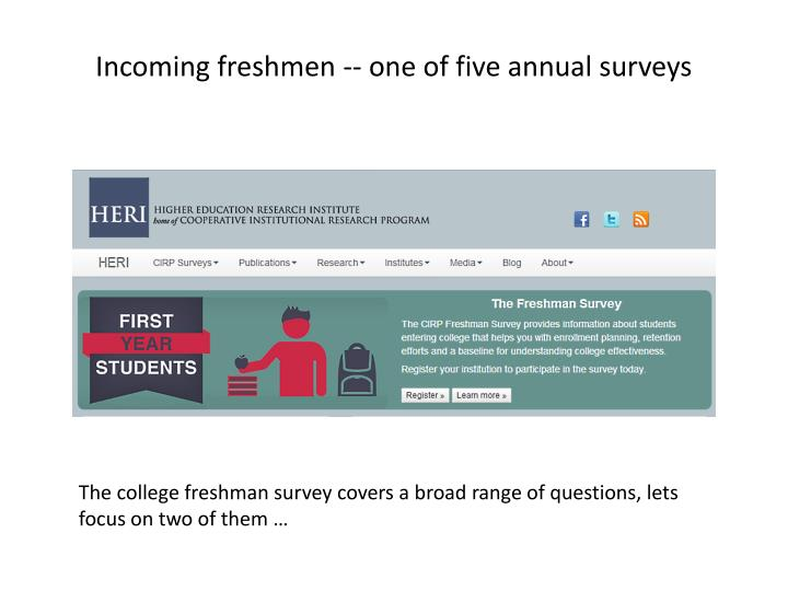 Incoming freshmen -- one of five annual surveys