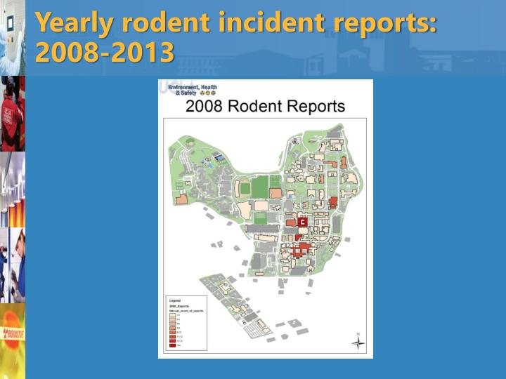 Yearly rodent incident reports: