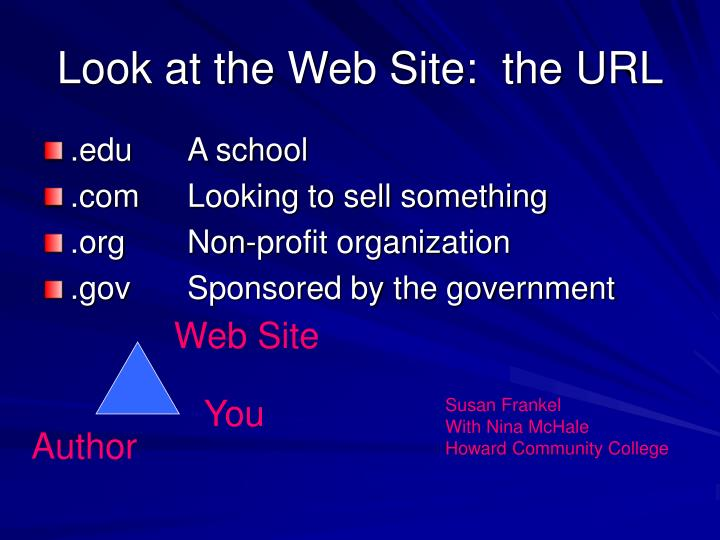 Look at the Web Site:  the URL