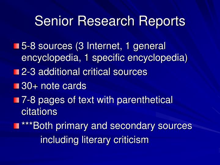 Senior research reports