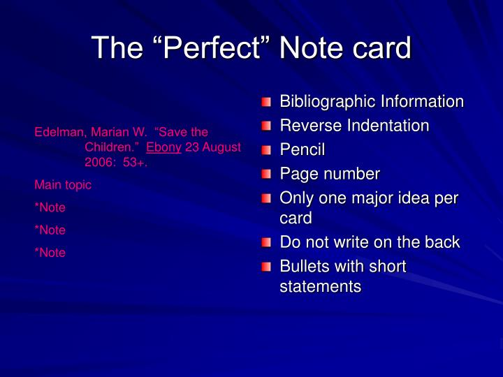 "The ""Perfect"" Note card"