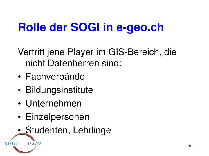 Rolle der SOGI in e-geo.ch