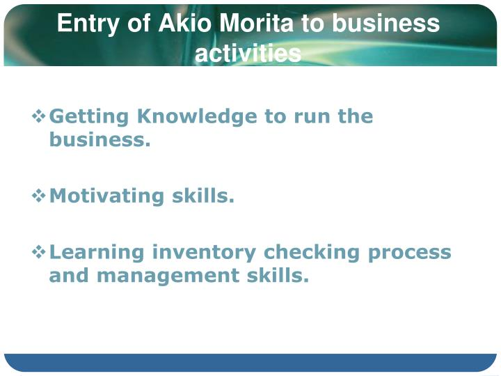 Entry of Akio Morita to business activities