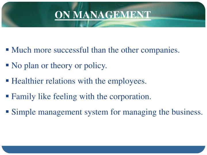 ON MANAGEMENT