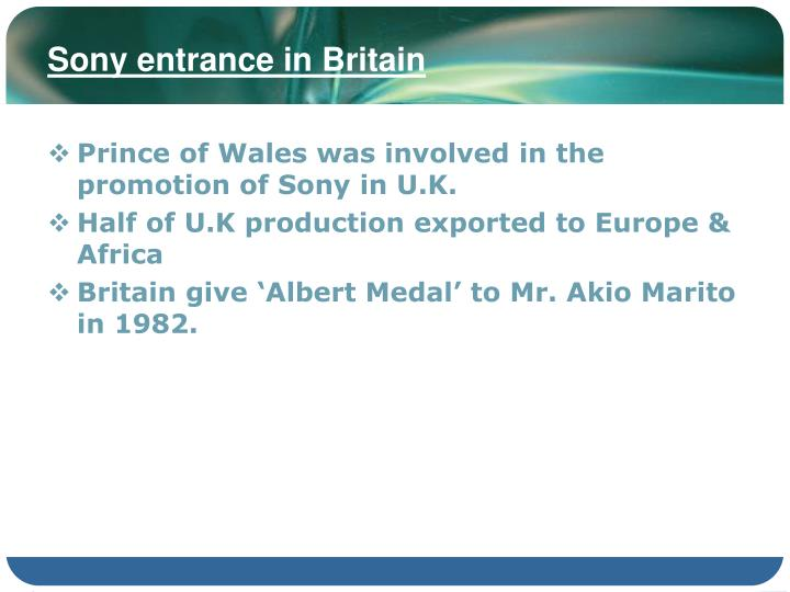 Sony entrance in Britain