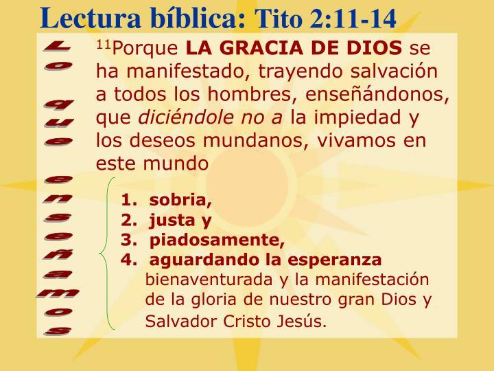 Lectura bíblica: