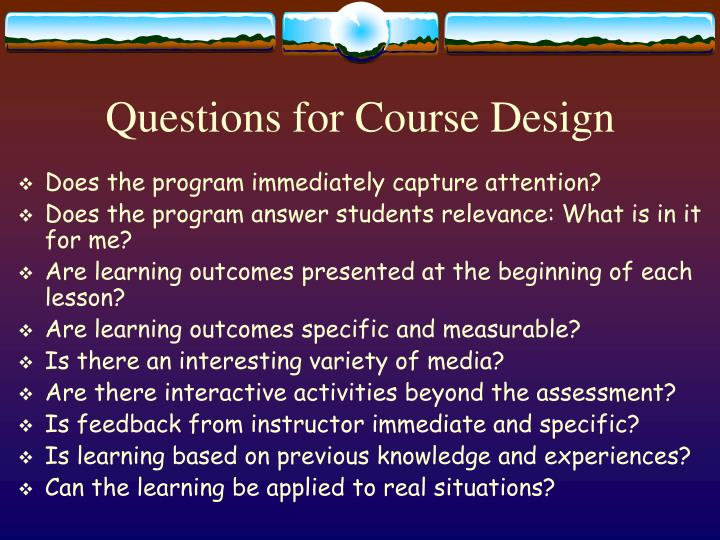 Questions for Course Design