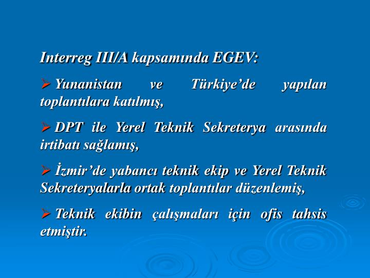 Interreg III/A kapsamında EGEV: