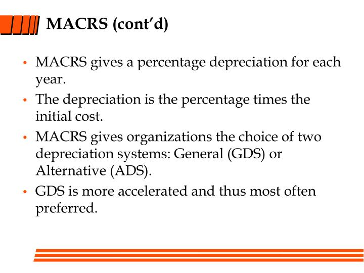 MACRS (cont'd)