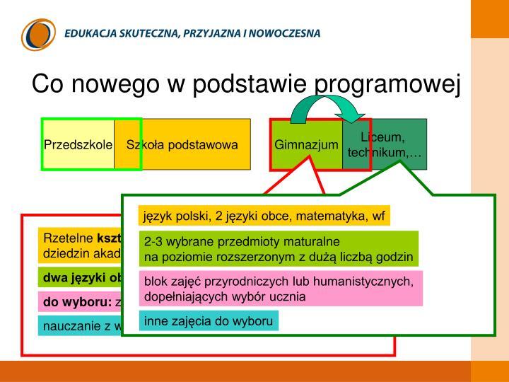 język polski, 2 języki obce, matematyka, wf