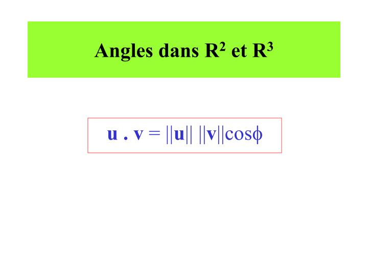 Angles dans R