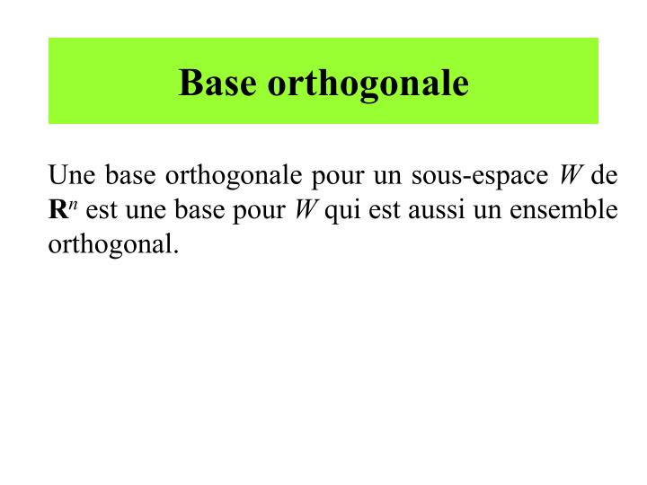 Base orthogonale