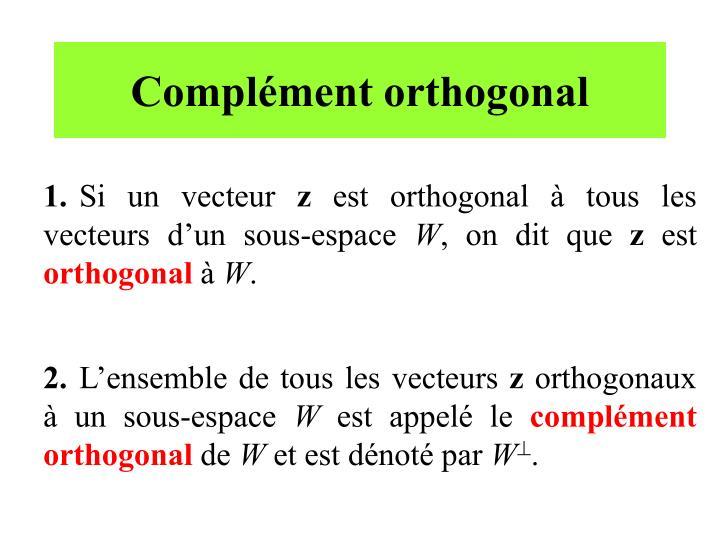 Complément orthogonal