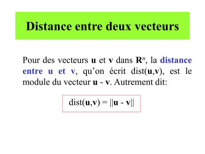 Distance entre deux vecteurs