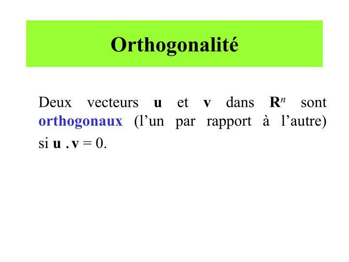 Orthogonalité