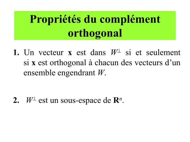 Propriétés du complément orthogonal