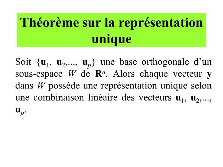 Théorème sur la représentation unique