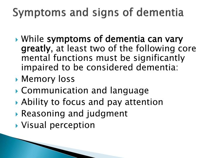 Symptoms and signs of dementia