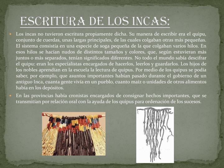 ESCRITURA DE LOS INCAS: