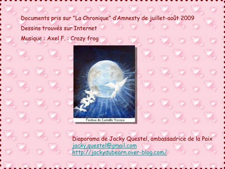 """Documents pris sur """"La Chronique"""" d'Amnesty de juillet-août 2009"""
